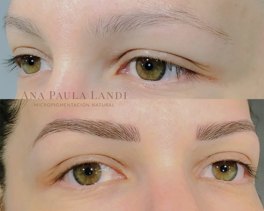 foto de micropigmentación de cejas pelo a pelo realizada por Ana Paula Landi en Barcelona