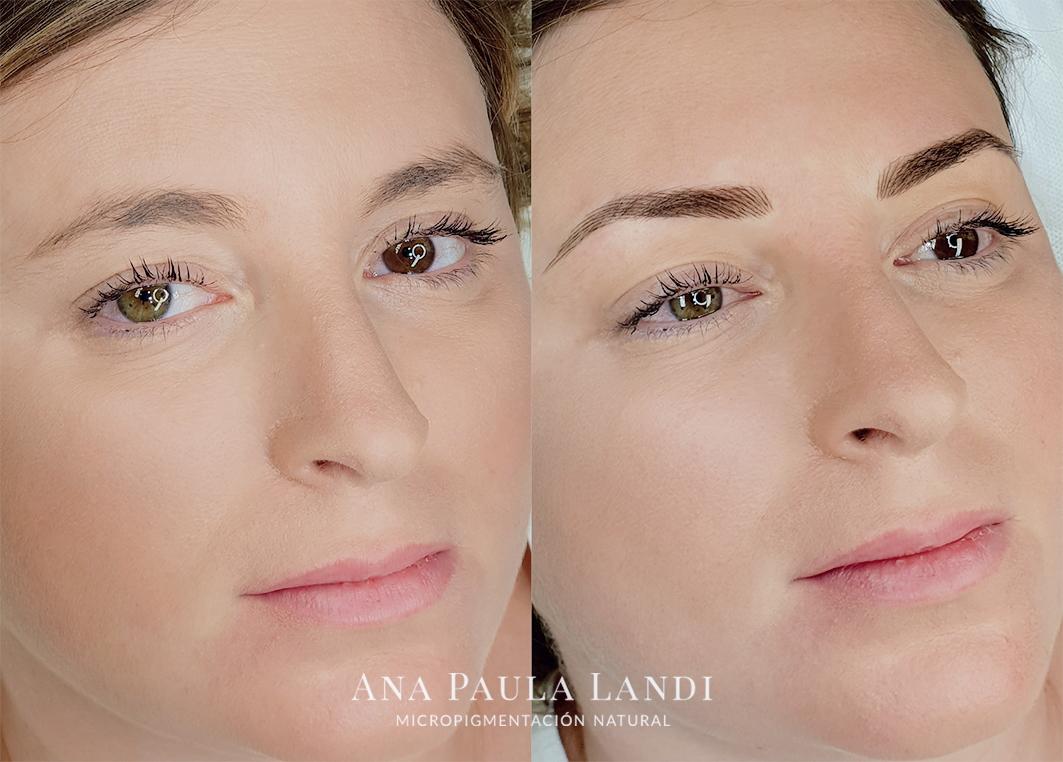 antes y después de micropigmentación pelo a pelo por Ana Paula Landi